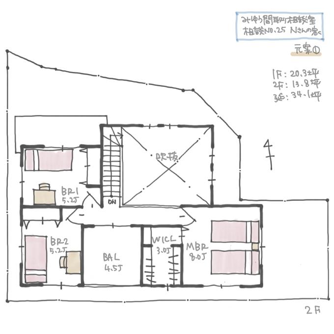 Nさんの家、初回間取り2階