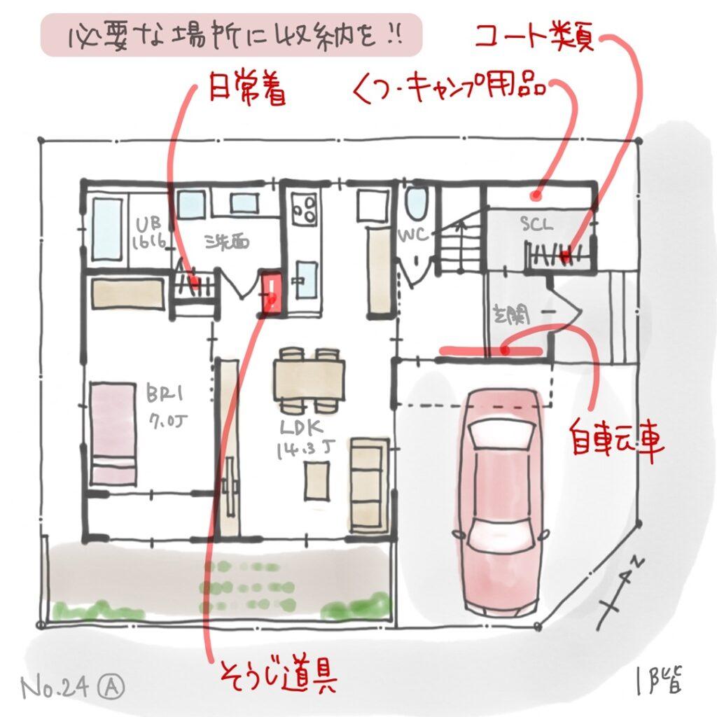 A案1階の片付けやすい収納