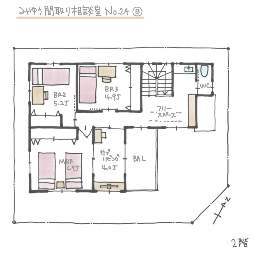 完全同居型の二世帯住宅の間取りB案2階