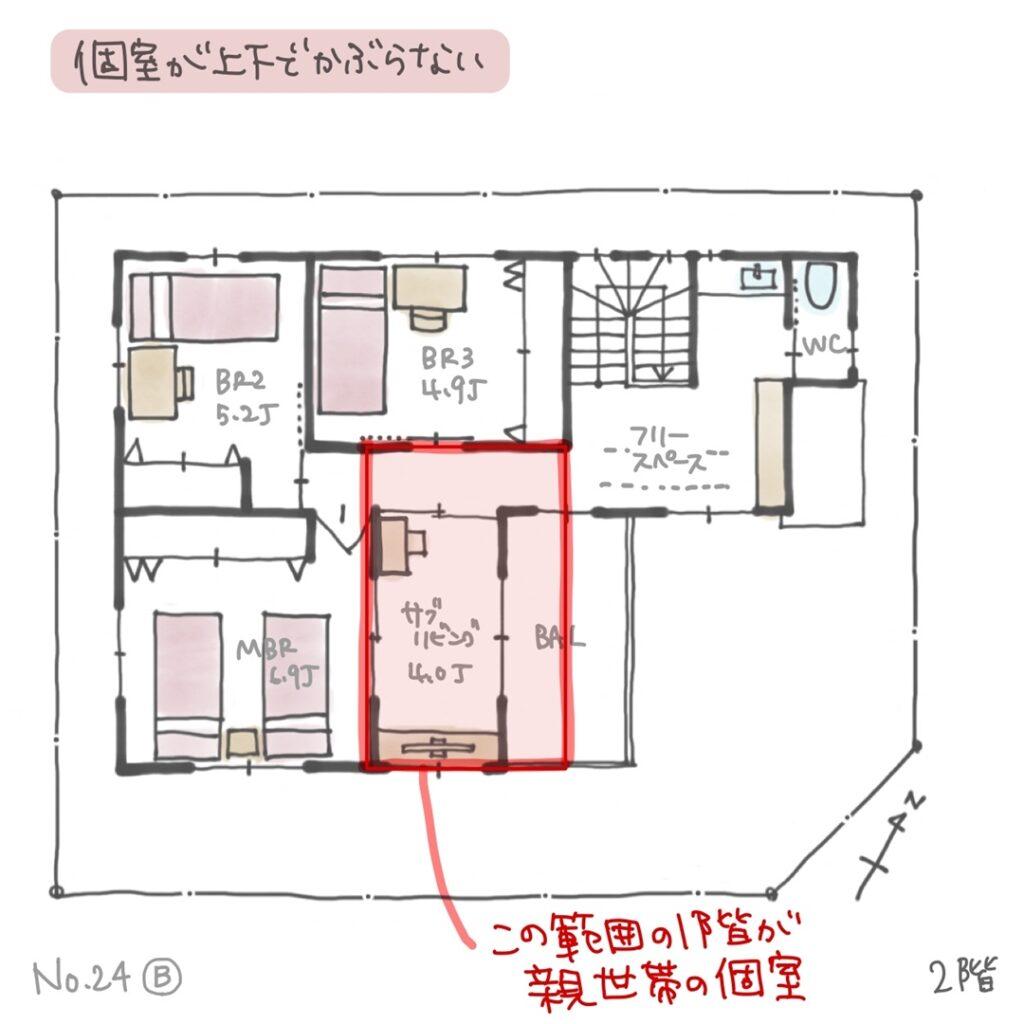 2階子世帯の個室