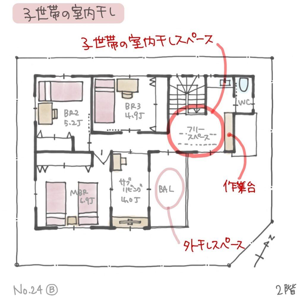 二世帯住宅、子世帯の日当たりの良い部屋干し空間