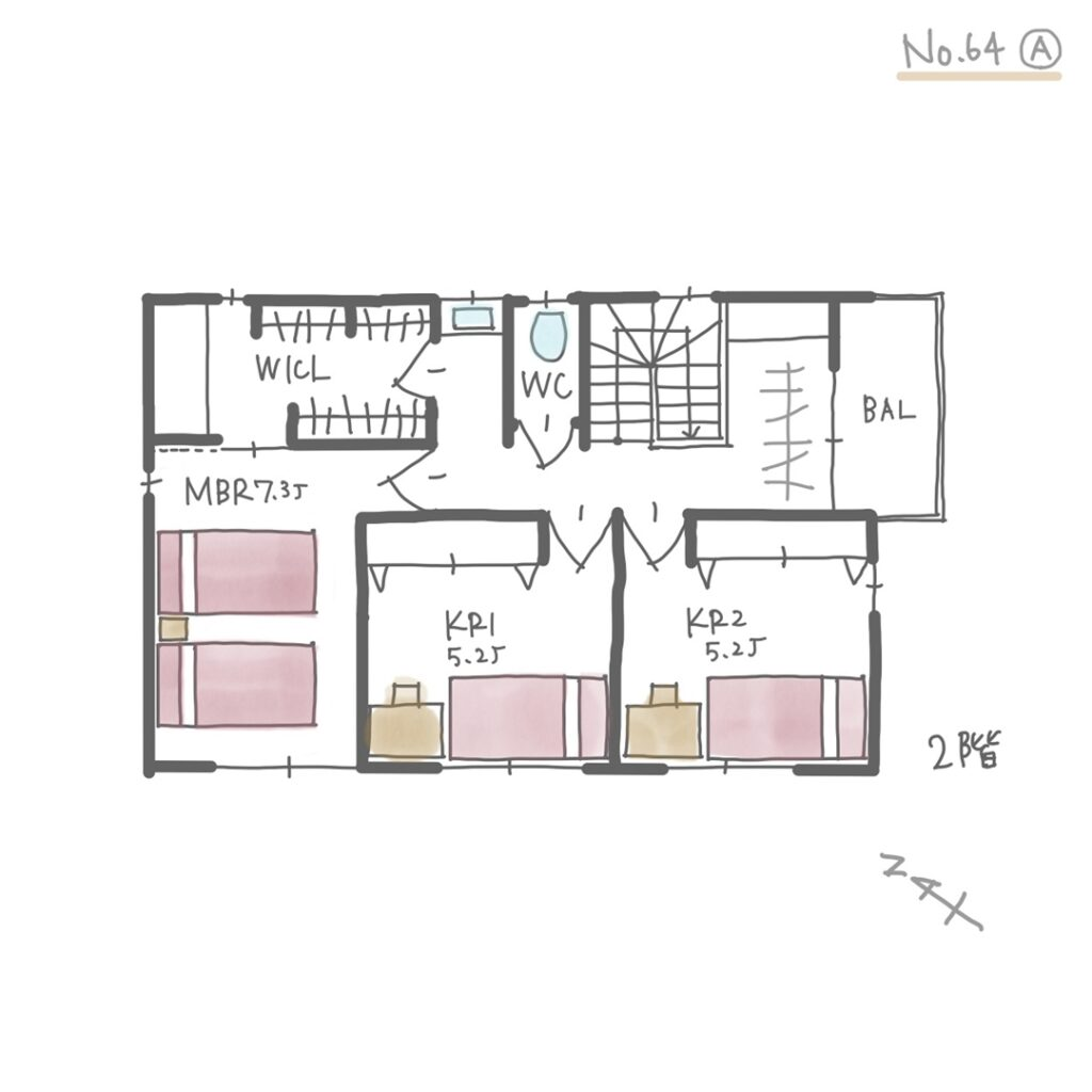 東南方位の玄関で家相の良い間取り【32坪3LDK2階建】2階