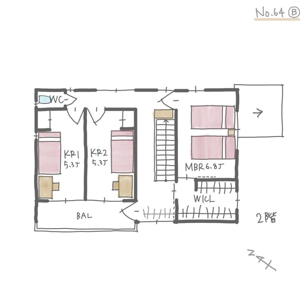 室内干しがしやすい洗濯動線の良い間取り【31坪3LDK2階建】2階