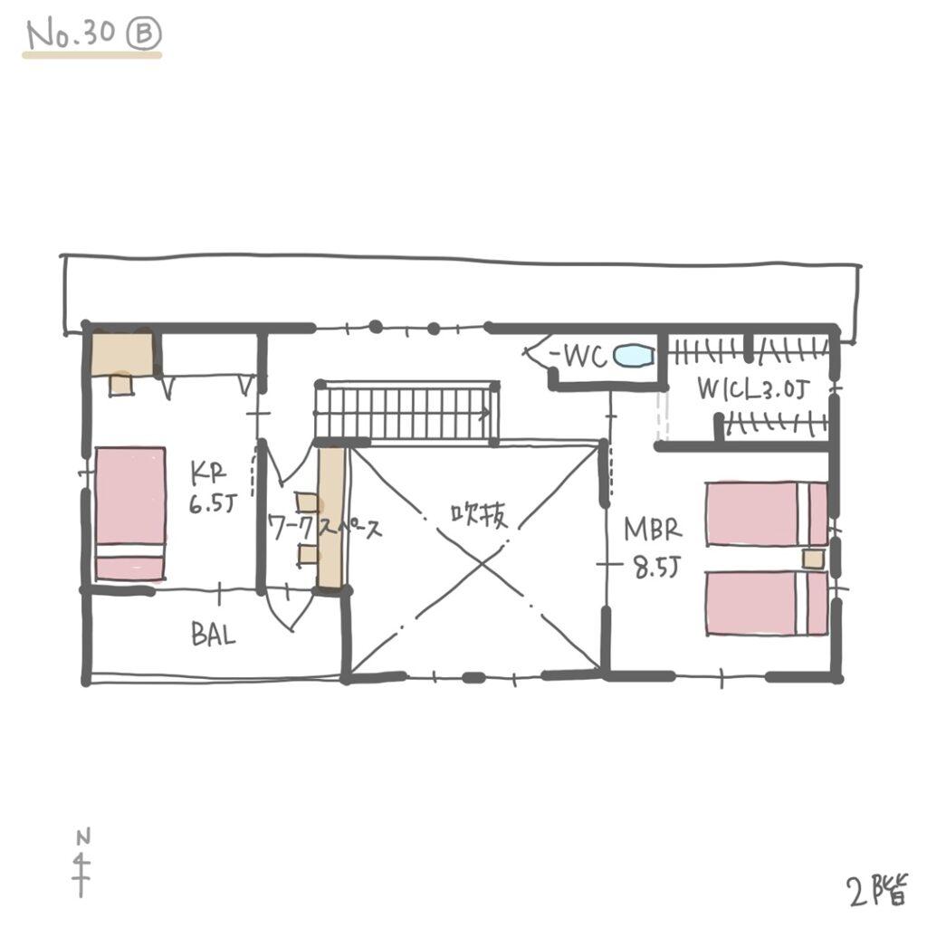 家事動線の良い二世帯住宅の間取り2階