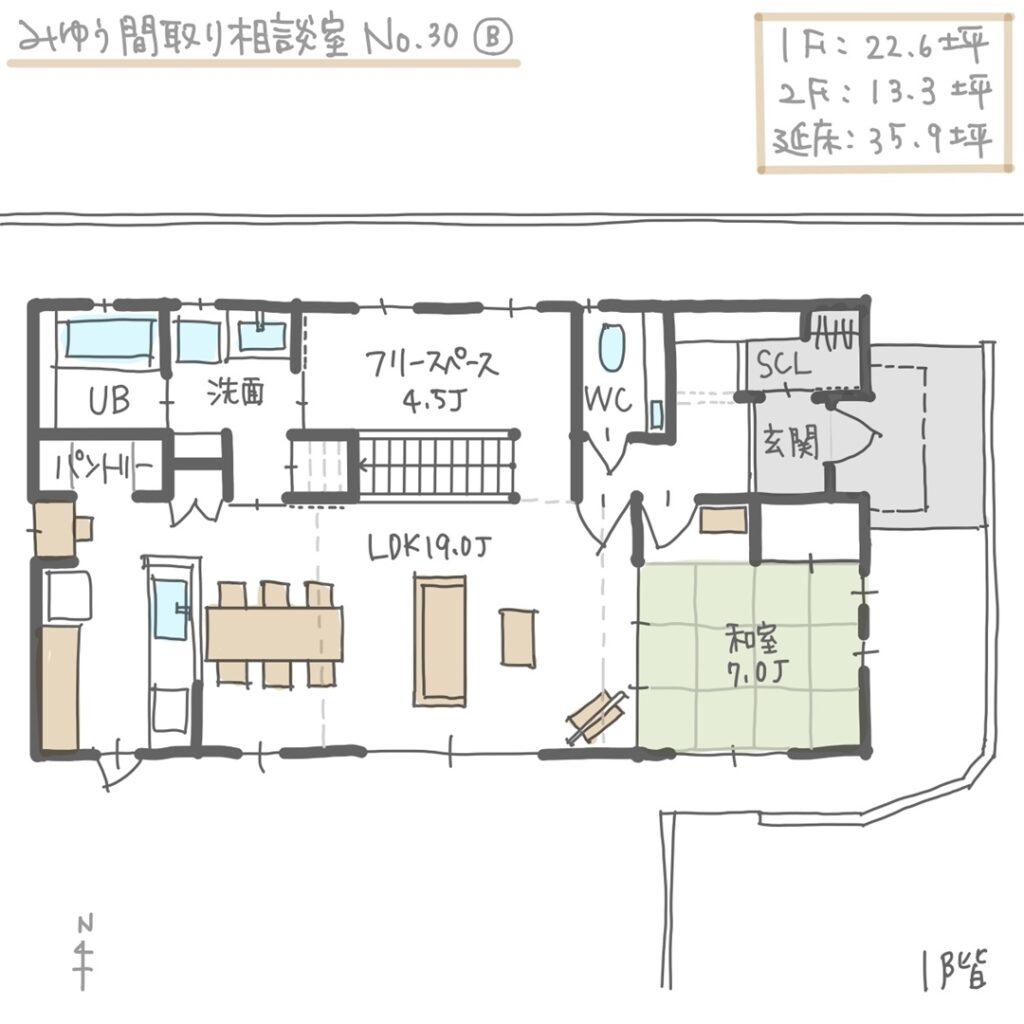 家事動線の良い二世帯住宅の間取り1階