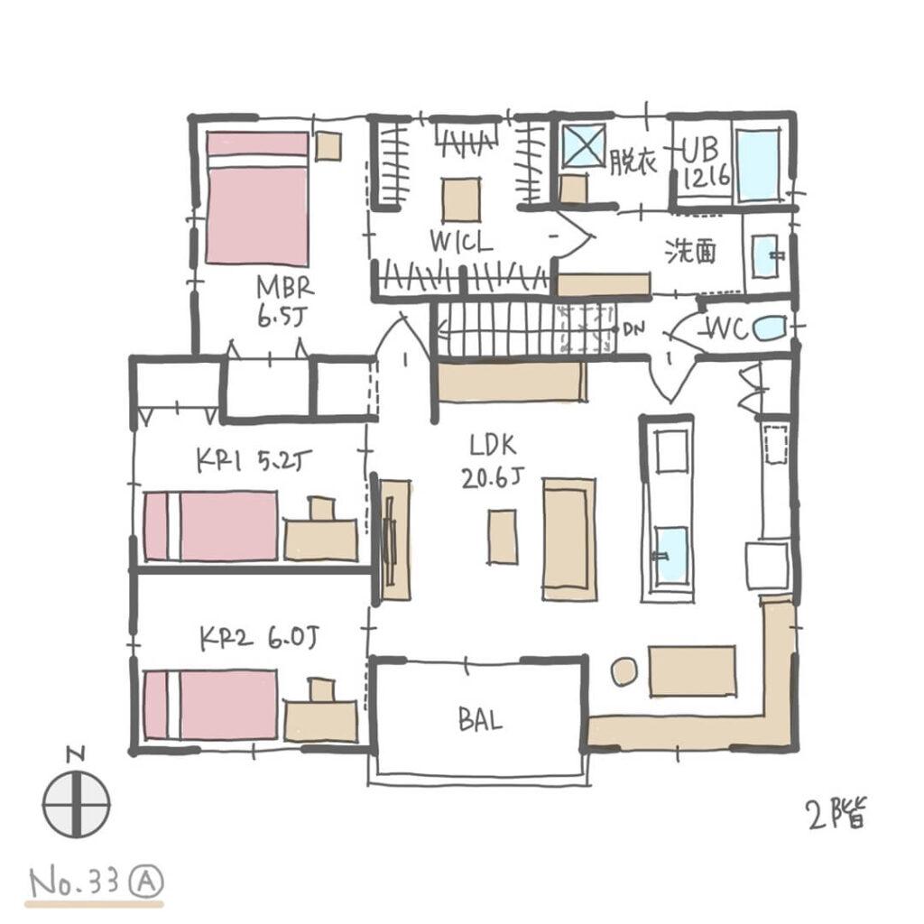 1階にオフィスがある家事ラク回遊動線の間取り2階