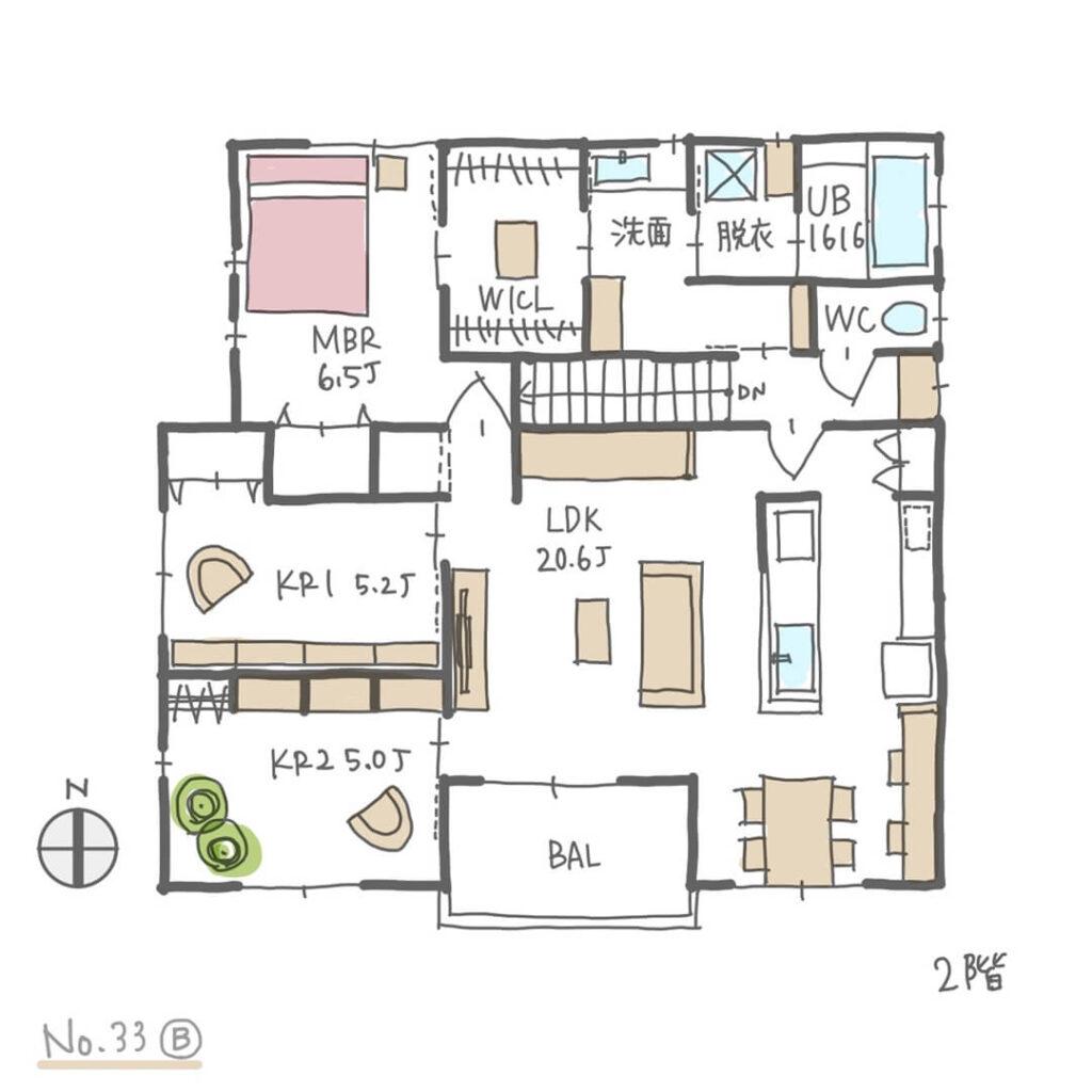 家に居場所が複数ある、洗濯動線の良い間取り2階