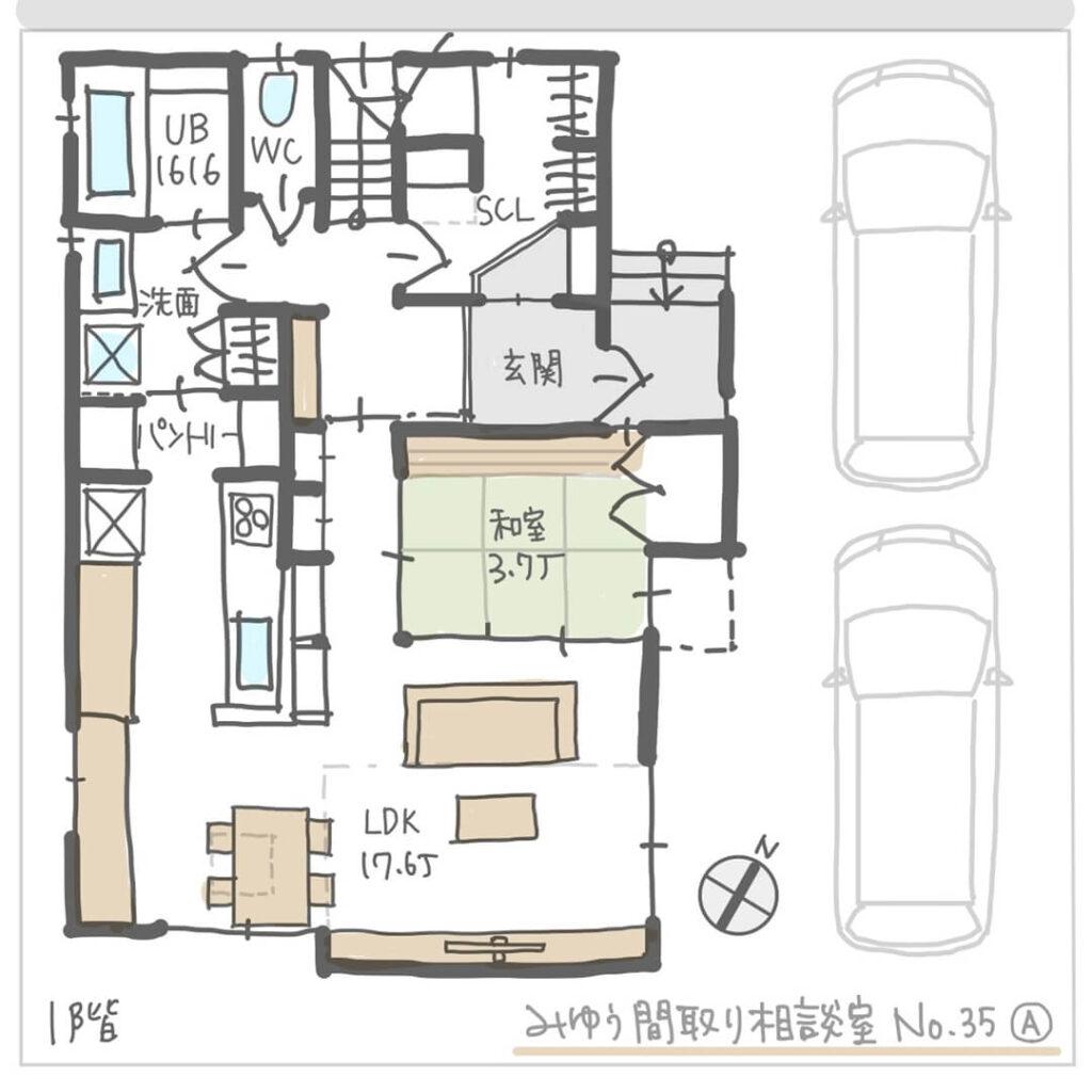 建物が近接した敷地の日当たりを考慮した間取り1階