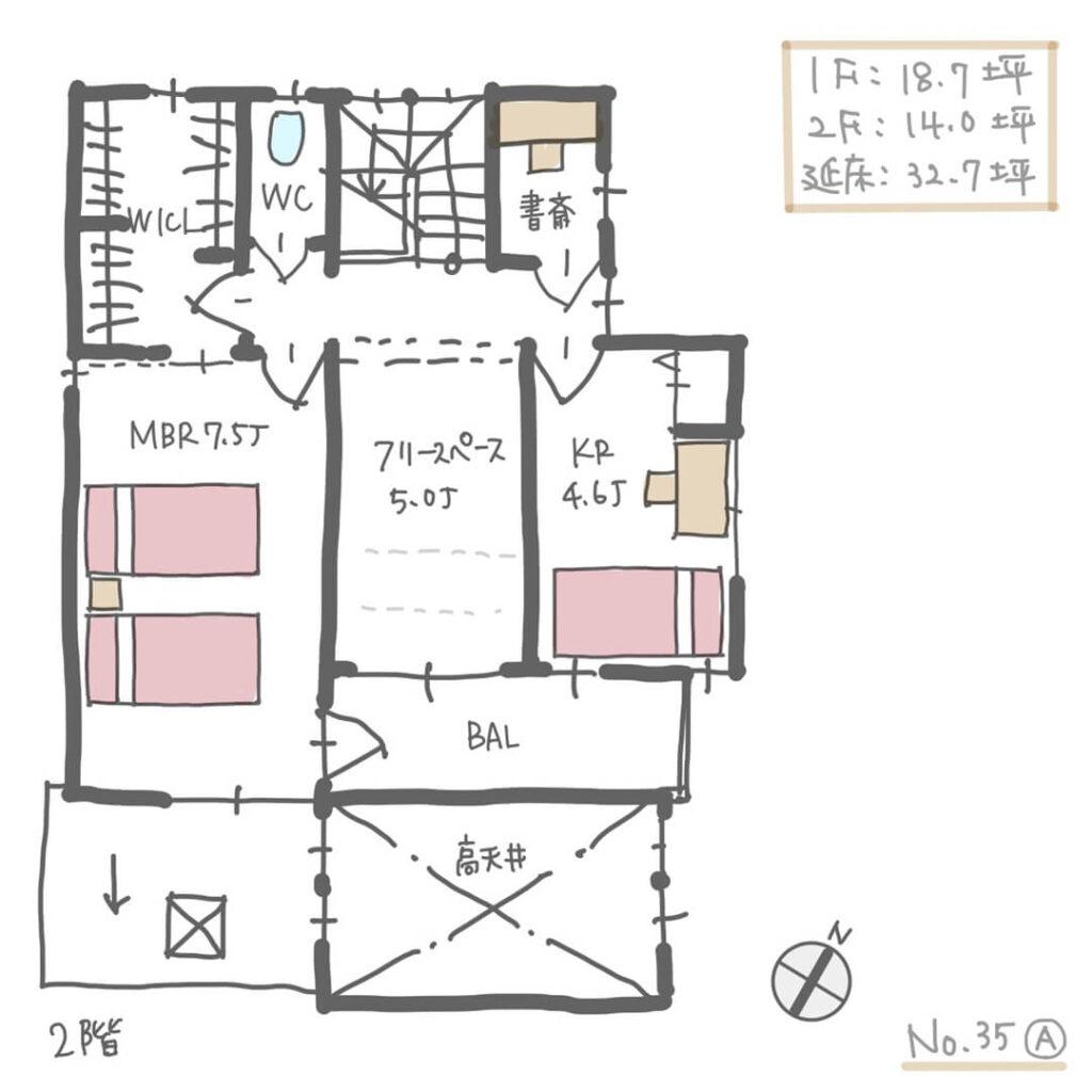 建物が近接した敷地の日当たりを考慮した間取り2階